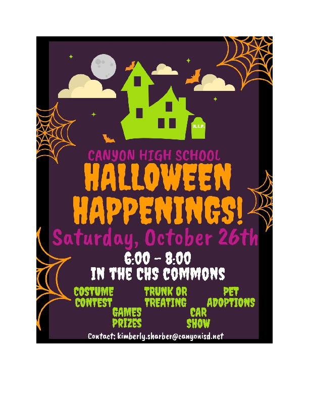 CHS Halloween Happenings is Saturday October 26th from 6   8 pm in the CHS Commons