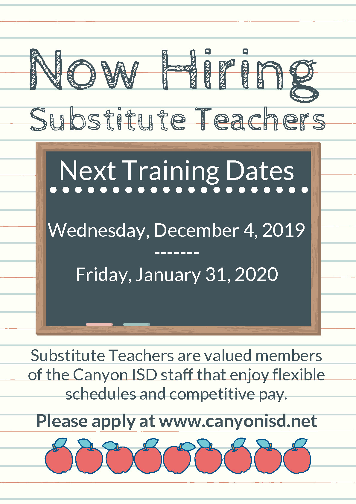Canyon ISD is having substitute training on Wednesday December 4 2019 and Friday January 31 2020