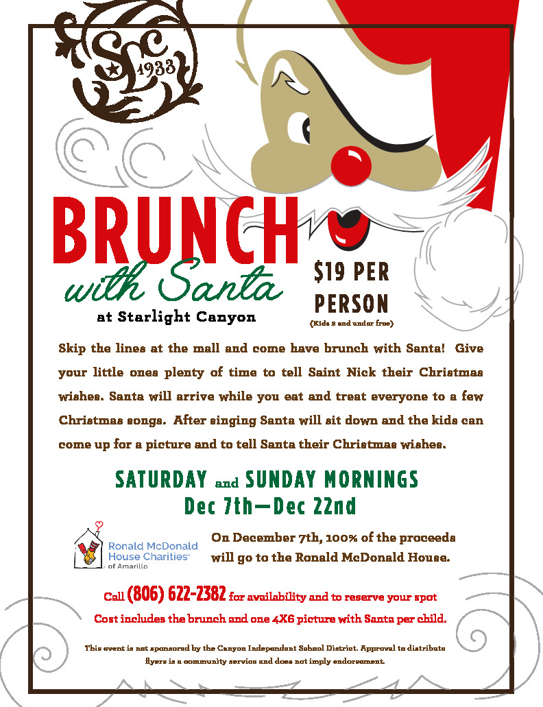 Starlight Canyon is hosting a brunch with Sanat on Saturday and Sunday mornings from Dec 7   Dec 22