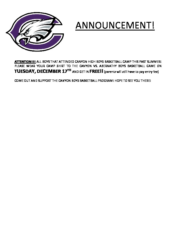 All boys that attended CHS Boys basketball camp this past summer get in free to the Dec 17th game