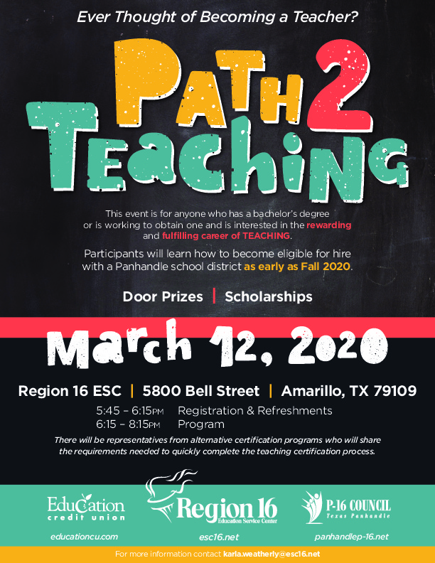 Region 16 is hosting an event for anyone with a bachelors degree who is interested in teaching on March 12th