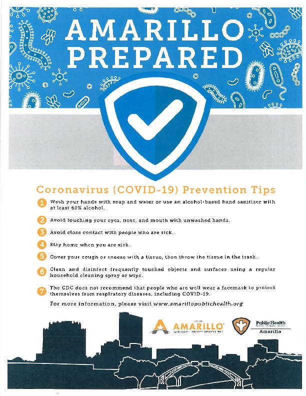 Amarillo Health Department Flyer that has Coronavirus Prevention Tips on it