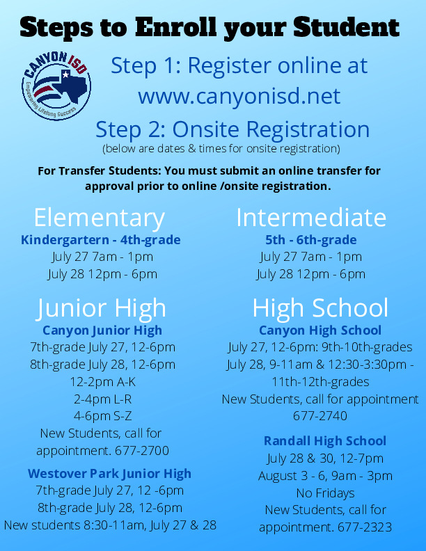 Online and onsite registration information for school year 2020 2021
