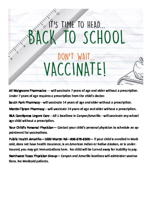 Its time to head back to school and dont wait to vaccinate Here is a list of place to get your vaccination