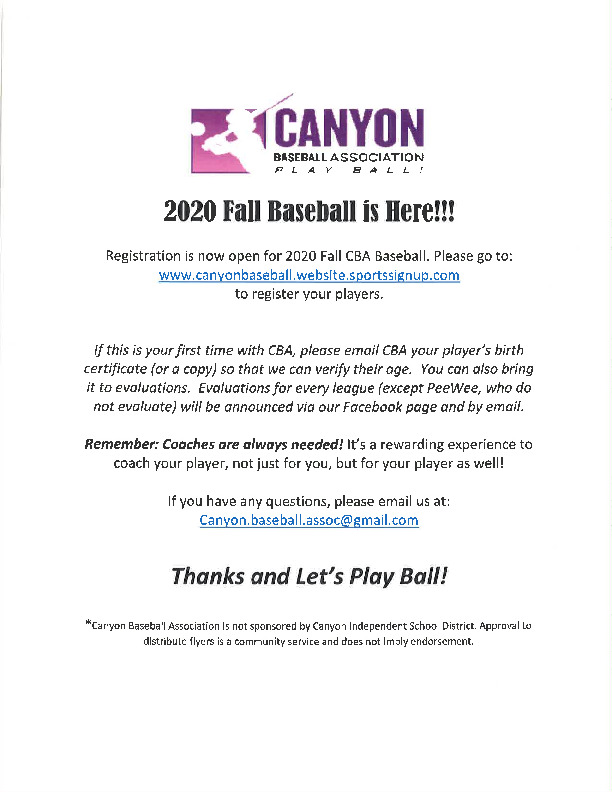 Canyon Baseball Association fall season starts soon and registration is open