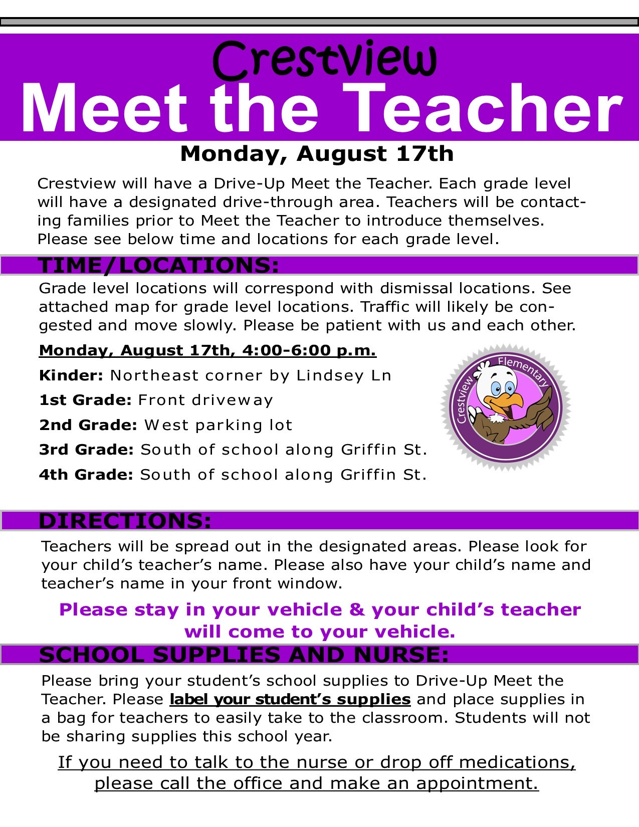 Crestview Elementary meet the teacher night is August 17th from 4 6