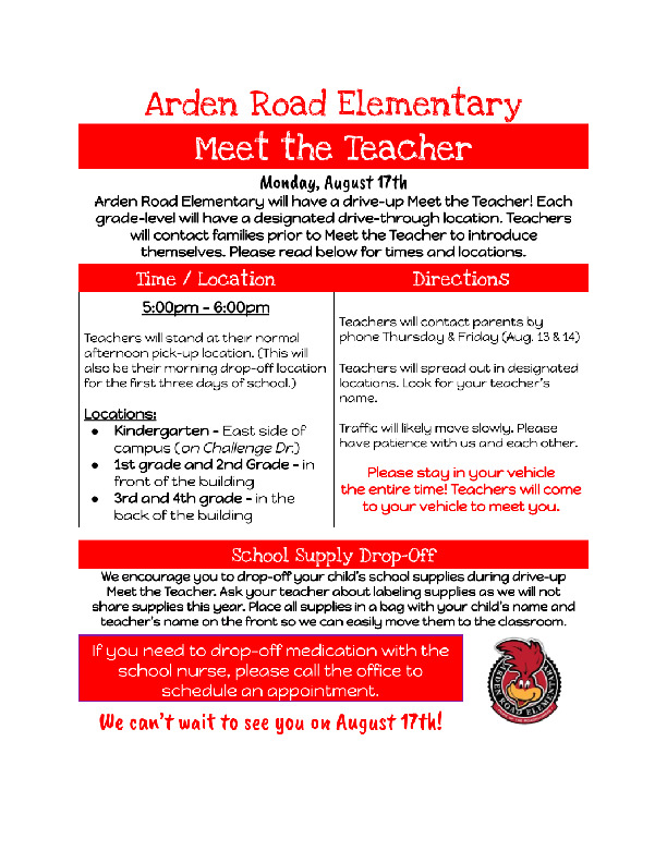 Arden Road Elementary meet the teacher night is August 17th from 4 6