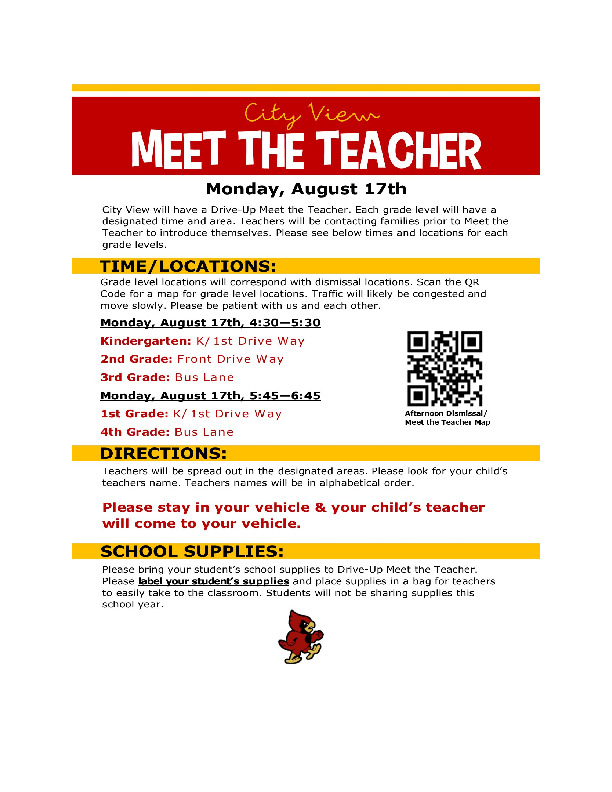 City View Elementary meet the teacher is August 17th from 4 6