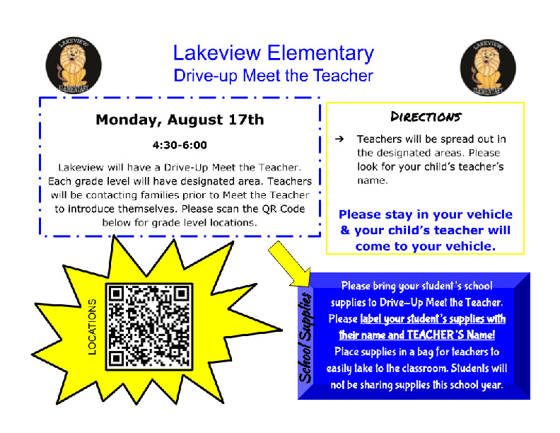 Lakeview Elementary meet the teacher night is August 17th from 4 6