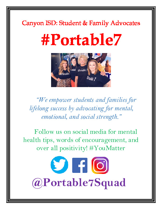 Follow Portable 7 Canyon ISD student and family advocates on facebook twitter and instagram
