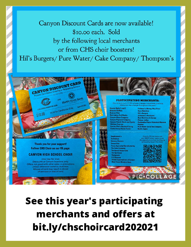Canyon discount cards are available for 10 each Sold at Hils Burgers pure water cake company and Thompsons