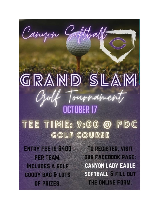 CHS Softball golf tournament is October 17th at Palo Duro Canyon Golf Course