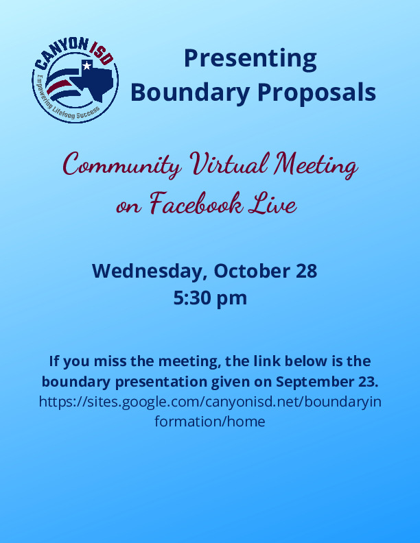 Canyon ISD is hosting a Facebook Live to present about boundary options