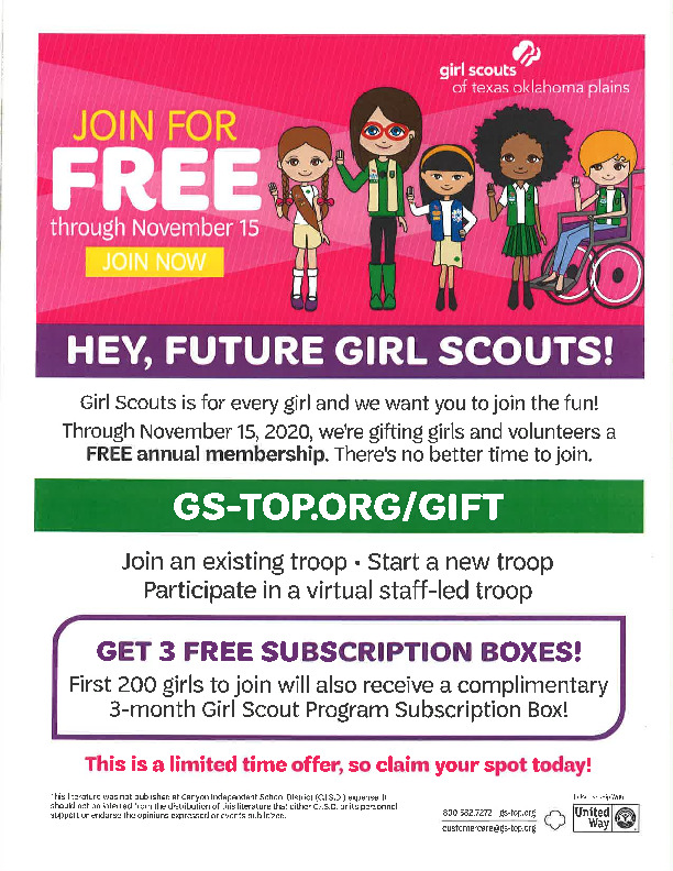 Girl Scouts Join for free through November 15