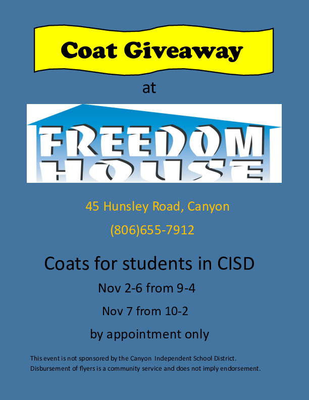 Coat giveaway at freedom house 45 hunsley road November 2  7 by appointment only 806 655 7912