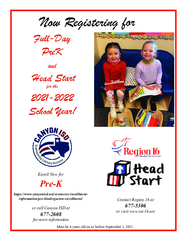 Now registering for full Day PreK and Head Start for the 2021 2022 School year