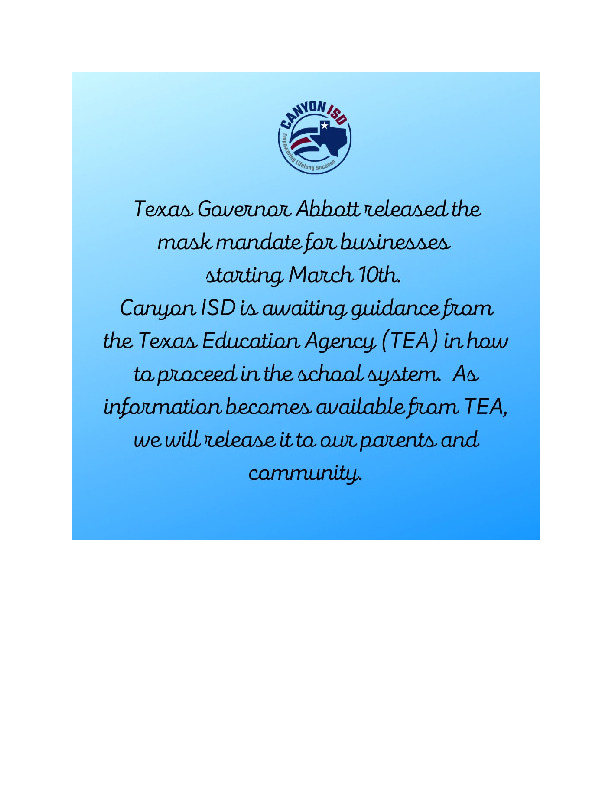 Canyon ISD statement about Governor Abbotts statement