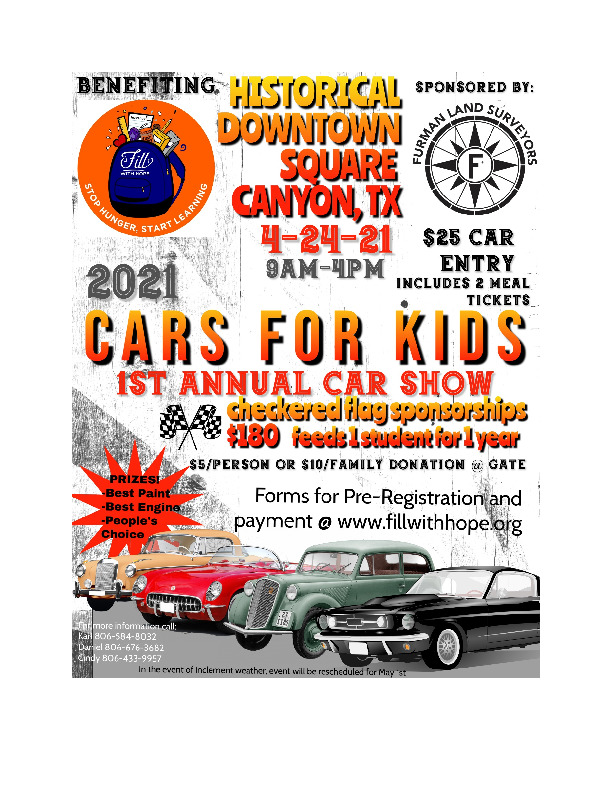 Cars for kids benefitting fill with hope organization is April 24th Cars will be showcased  lunch provided with ticket