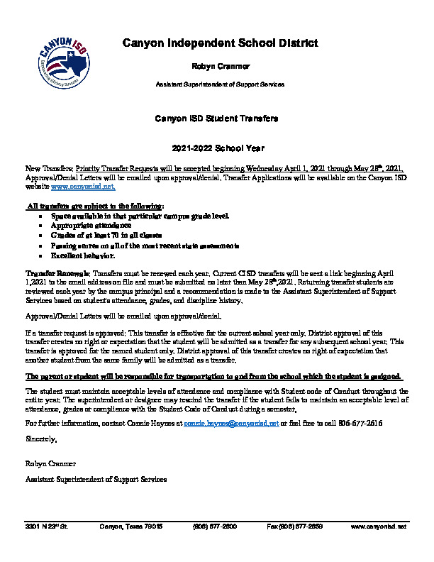 Canyon ISD transfer information for 2021 2022 school year