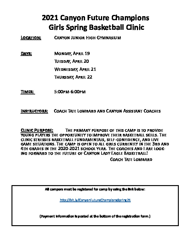Canyon Girls Basketball Camp for 3rd and 4th graders is April 19 through 22