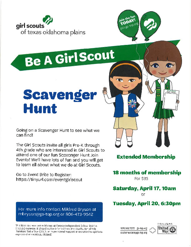 Girl Scout Scavenger Hunt for Pre K through 4th grade on April 17 and April 20