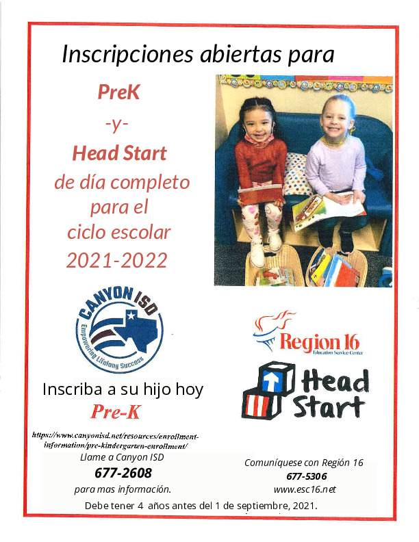Pre K and head start registration is now open