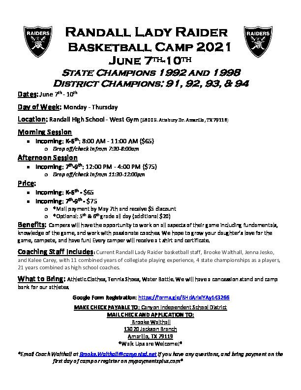 RHS girls basketball camp is June 7   10