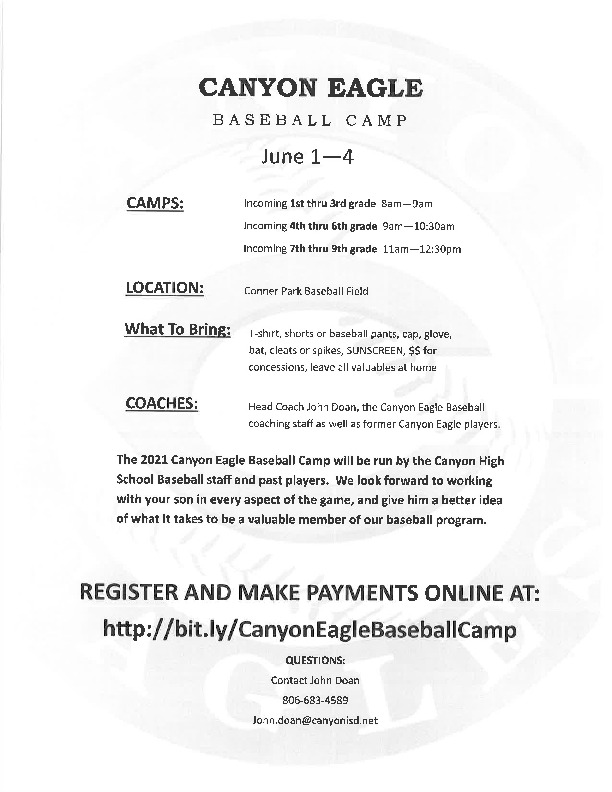 Canyon HS Baseball camp is June 1   4 for incoming 1st through 9th grade