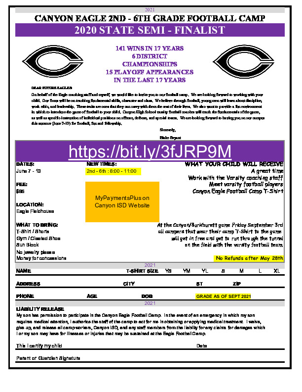 Canyon HS football camp for incoming 2nd   6th grade is June 7 10