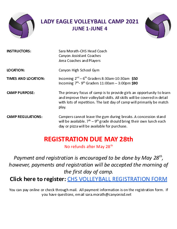 Canyon HS volleyball camp is June 1   4 for incoming 2nd   9th graders