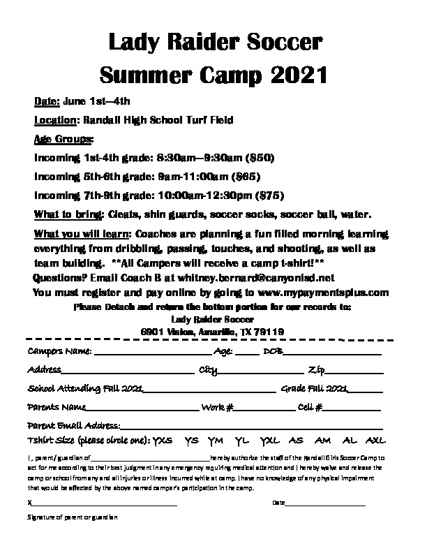 Lady Raider Soccer camp is June 1 4 for incoming 1st through 9th grade