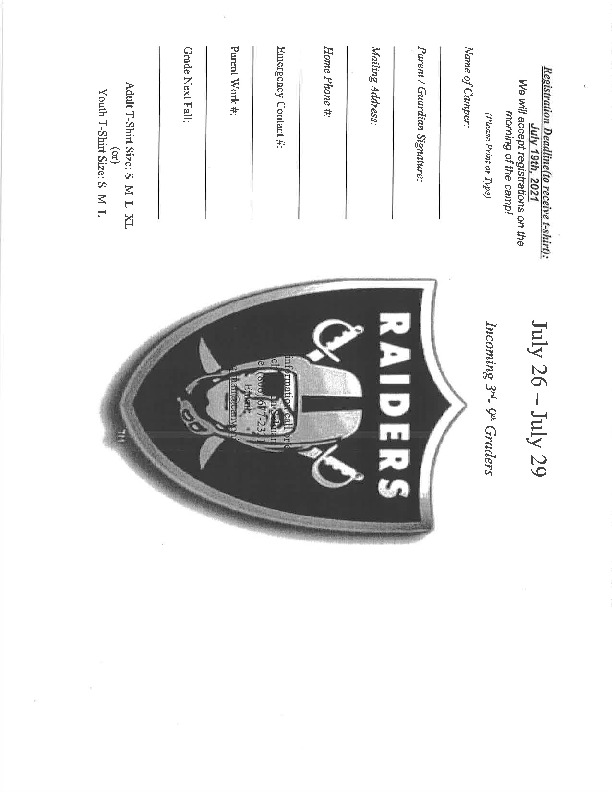 Randall High School Football Camp is July 26 29 for incoming 3rd   9th graders