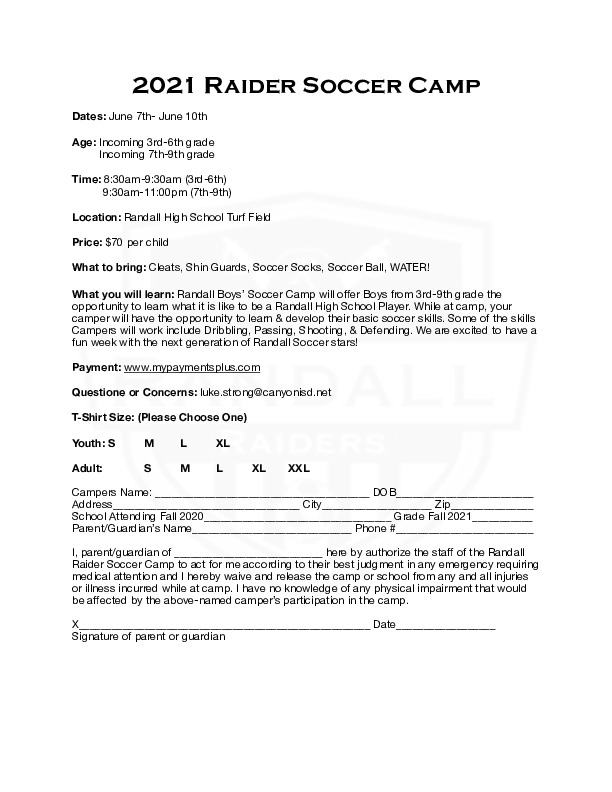 Raider Soccer camp is June 7th   10th for 3rd   9th grade