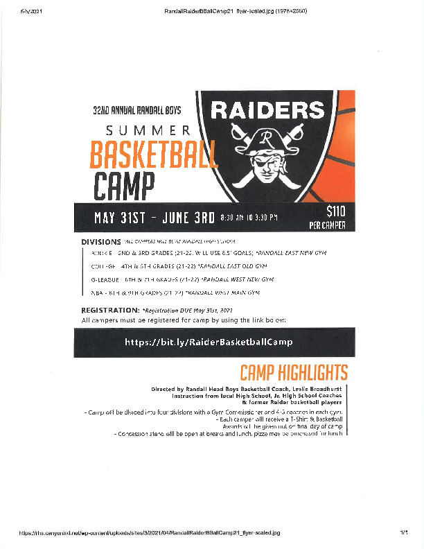 Randall Raider boys basketball camp is May 31   June 3 for all incoming 2nd   9th grades