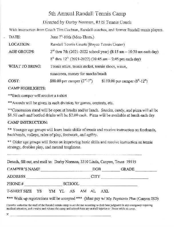 Randall HS tennis camp is June 7   10 for all incoming 2nd through 12th grade