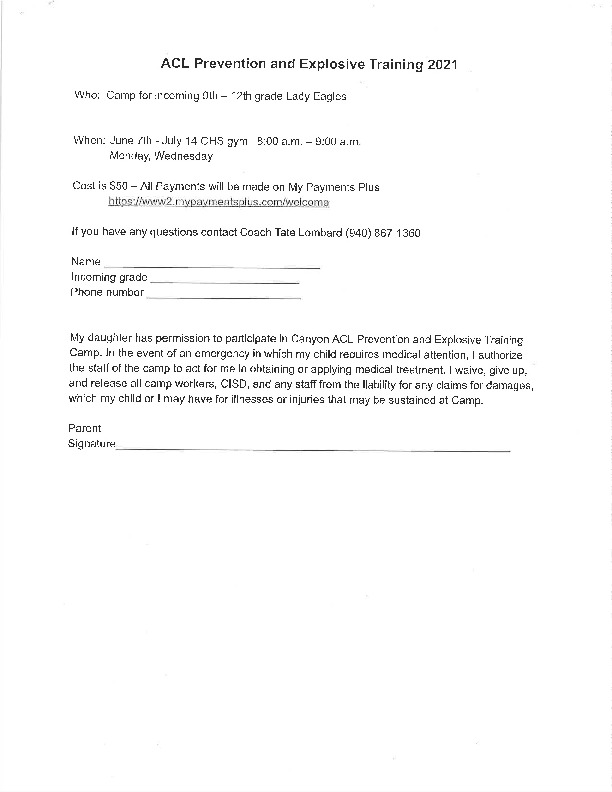 Lady Eagle strength and conditioning training June 7   July 15 Monday and Wednesday for incoming 9th and 12th
