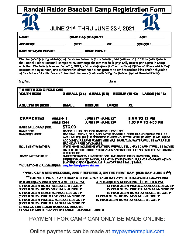 Randall Raider Baseball Camp is June 21   23 for ages 4   16