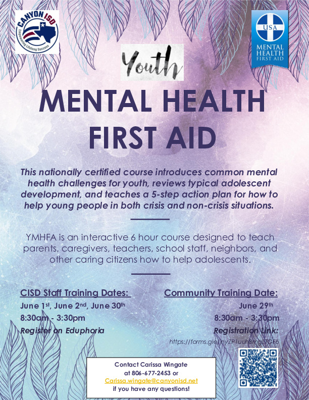 Youth Mental Health First Aid course is an interactive 6 hour course designed to teach parents etc