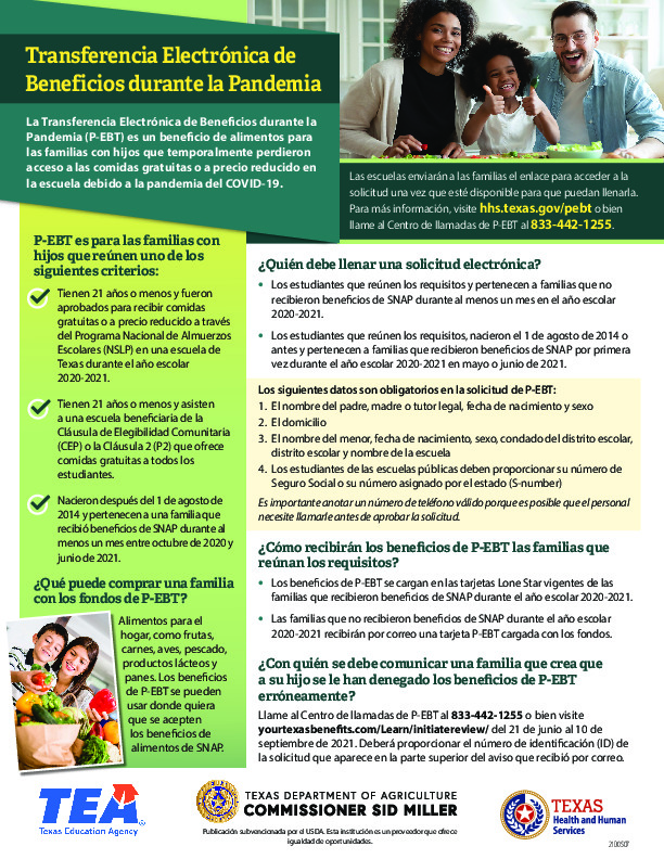 P EBT is for families with enrolled students up to age 21 who lost access to freereduced price meals at school