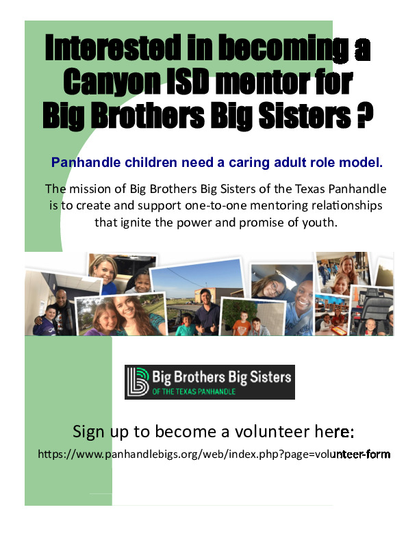 Interested in becoming a Canyon ISD mentor for Big Brother Big Sisters