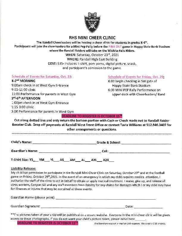 Randall High School mini cheer clinic is October 23 deadline to register is October 15