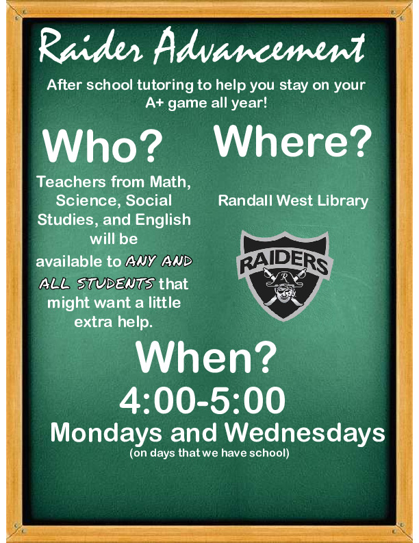 After school tutoring is available from 4 5 on Mondays and Wednesdays for math science social studies and English