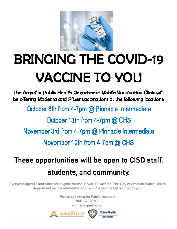 The Amarillo Public Health Department Mobile Vaccination Clinic will be offering Moderna and Pfizer vaccinations